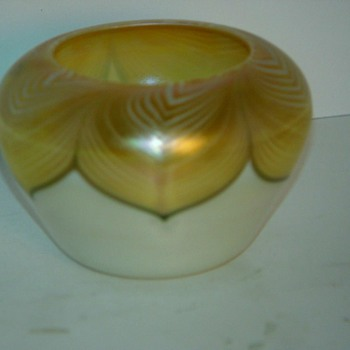 Quezal Rose Bowl Vase c. 1910 - Art Glass