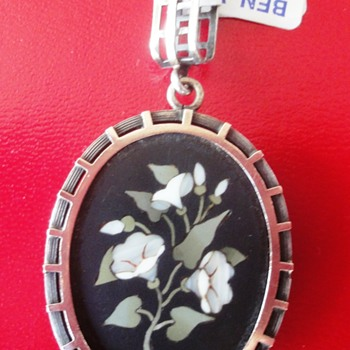 Pietra Dura 10k gold Silver mourning locket Pendant  - Fine Jewelry