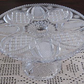 ANTIQUE TALL CAKE PLATTER - Glassware