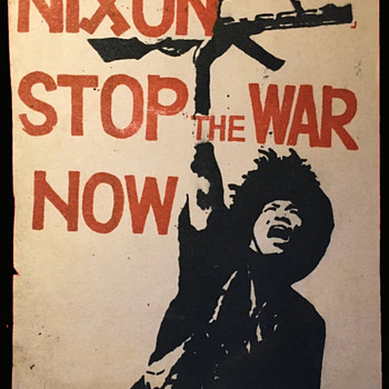 "Rare 1960s Anti-Vietnam War ""NIXON STOP the WAR NOW"" Hand-Out circa 1960's - Politics"