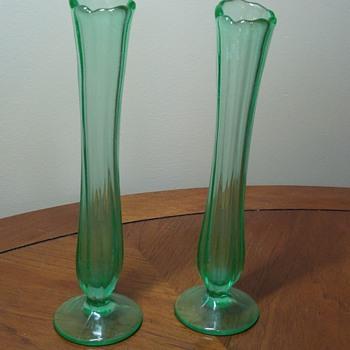 Pair of Uranium Glass Bud Vases - Glassware