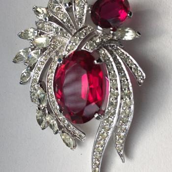 Polcini Rhinestone & Red Crystal Brooch ca 1960s - Costume Jewelry