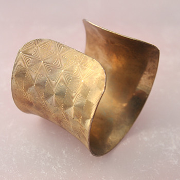 Brass Cuff Bracelet With Geometrical Etchings - Costume Jewelry