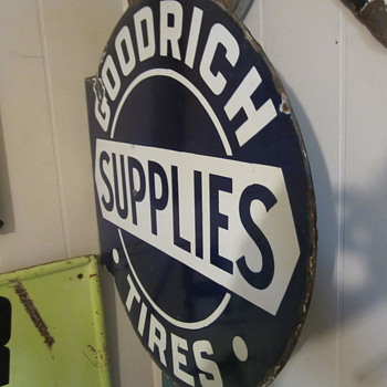 "Goodrich ""Supllies"" porcelain flange sign  - Advertising"