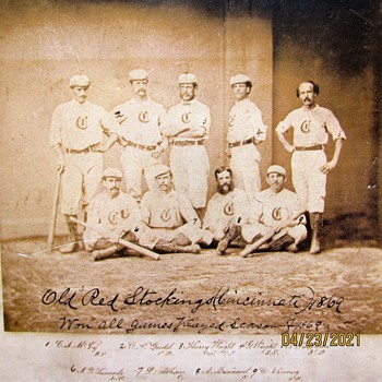 Old Baseball Card Depicting 1869 Red Stockings Team - Basketball