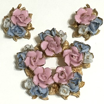 Pink & Blue Enameled Flowers