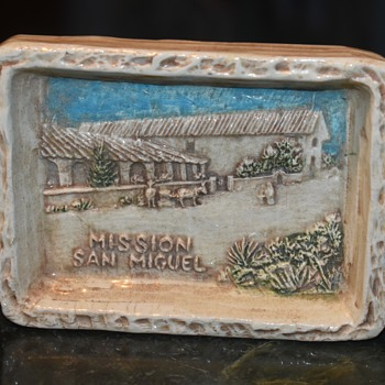 Mission San Miguel - Trinket Tray Memento signed by Colin Reid - Advertising