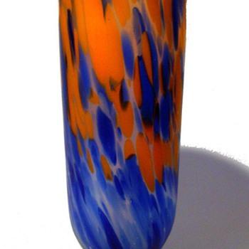 Czech/Bohemian Blue Mottled Vase - Art Glass