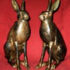 Large  Pair of Pierre Chenet Solid Bronze Hares