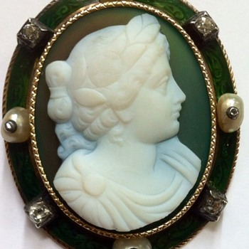 Cameo brooch, green agate! - Fine Jewelry