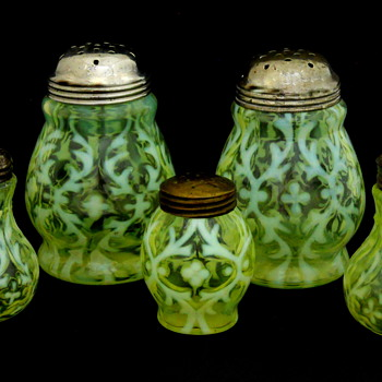 Northwood Spanish Lace Vaseline Glass Opalescent Shakers - Glassware