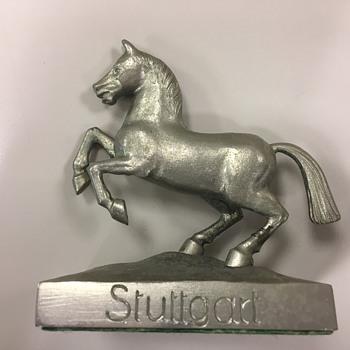 Vintage German Porsche Stuttgart Metal Paperweight Statue - Animals