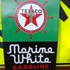Antique Texaco Marine White Gasoline Pump Sign
