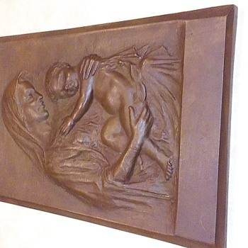 Constanzo Luini Signed Madonna and Child Bronze Plaque