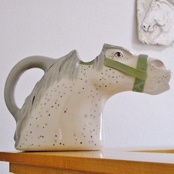 Animals & Co. Dapple Grey Horse Head Water Pitcher Signed Numbered Help - Pottery