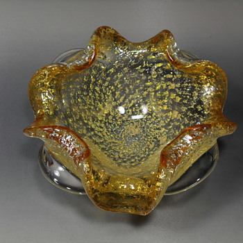 Murano Aventurine Bullicante Bowl / Ashtray - Art Glass