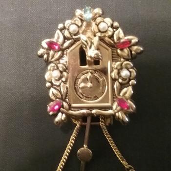 Coro Pegasus cuckoo clock fur/dress clip  - Costume Jewelry