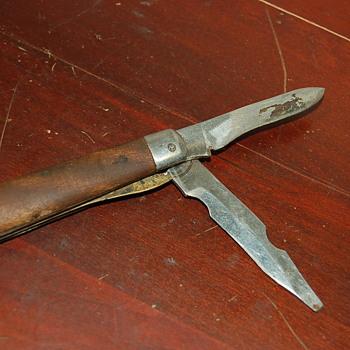 Vintage Japanese Made Folding Wood Handle Pocket Knife OHC - Tools and Hardware