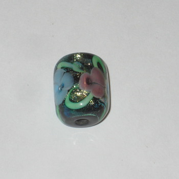 Glass Bead with flowers - Art Glass