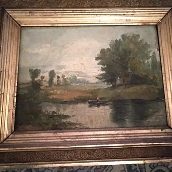Antique Landscape Oil Painting 13 x 16 - Fine Art