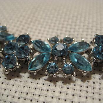 Crown TRIFARI Pale Blue Rhinestone Bracelet - Costume Jewelry