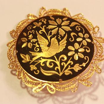 Gold and Black Enamel Bird Pin - Costume Jewelry