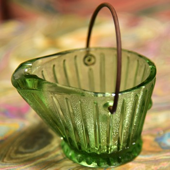 Toothpick holder? Depression Glass Coal Bucket - Kitchen