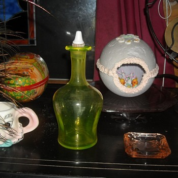 Vaseline Glass Bottle with Stopper - Glassware