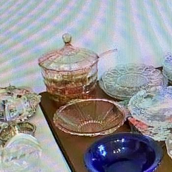 Pink Depression Covered Punch Bowl Set - Glassware