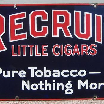 Recruit Cigars sign - Tobacciana