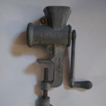 Crescent D C M T Made in England all metal toy minature meat mincer with table clamp working.