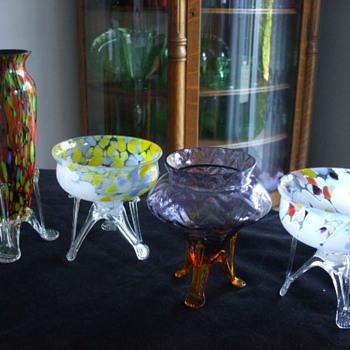 Bohemian Rocket-Footed Bowls/Vases and  New Friend - Art Glass