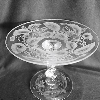 American Brilliant Cut Glass Compote Signed Libbey - Glassware