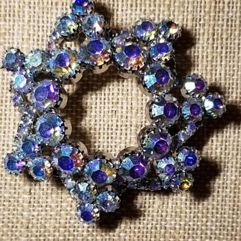 Alluring Aurora Borealis Crystal Brooch  - Costume Jewelry