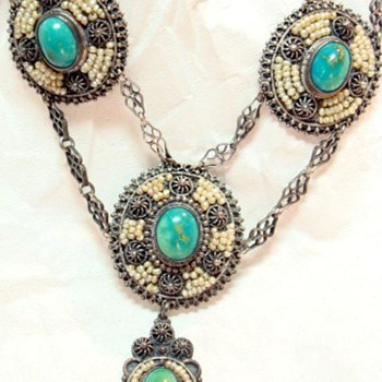 Antique Victorian Turquoise and Seed Pearl Necklace - Fine Jewelry