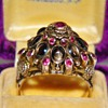 Antique Victorian Star Sapphire Ruby Thai Princess Ring 12k