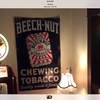 "1930's Original Lorillard's 10 cents ""BEECH-NUT"" Chewing Tobacco porcelain sign - Tobacciana"