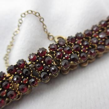 Antique Gold Filled Bohemian Garnet Link Bracelet - Fine Jewelry