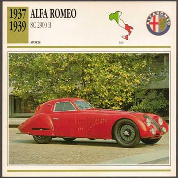 Vintage Car Card - Alfa Romeo 2900B
