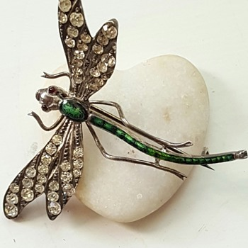 Large early 20th century paste, enamel, silver dragonfly brooch. - Fine Jewelry