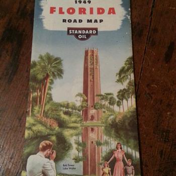 Standard Oil 1949 Florida Road Map - Petroliana