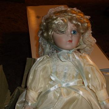 Harlequin Reader Service Porcelain Doll - Box postmarked Oct 11, 1991 - Dolls