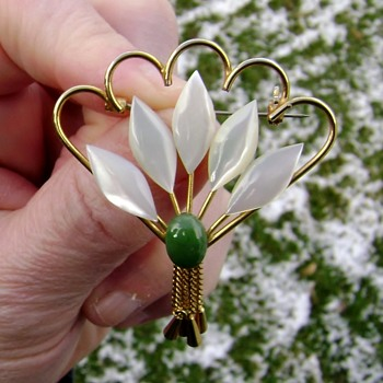 Vintage MOP Brooch - Costume Jewelry