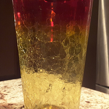 "12"" Blenko Amberina Crackle Glass Vase"