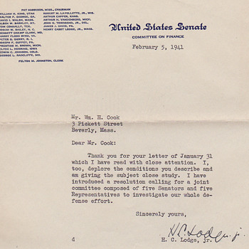 letter from  Henry Cabot Lodge, Senator from Massachusetts in 1940 - Paper