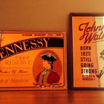 Congnac Hennessy V.S.O.P RESERVE & Johnny Walker mirror bar advertisement signs. - Advertising