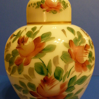 Milk glass urn with painted pink fuchsia (?) flowers  - Glassware