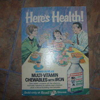 60s rexall drug store cardboard poster - Advertising