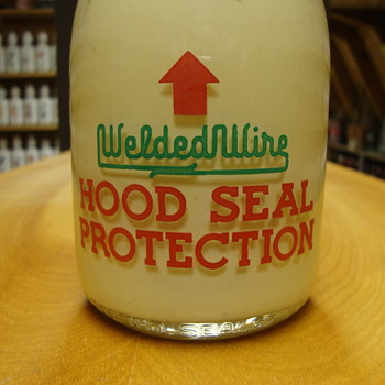 "Salesman Sample ""WELDEDWIRE"" Hood Seal Protection Milk Bottle.... - Bottles"