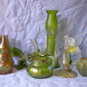 Art Nouveau Kralik Satin Tube Applied Leaf Vase  - Art Glass